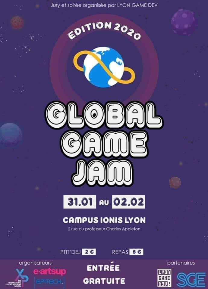Affiche de la Global Game Jame 2020 sur le campus Ionis
